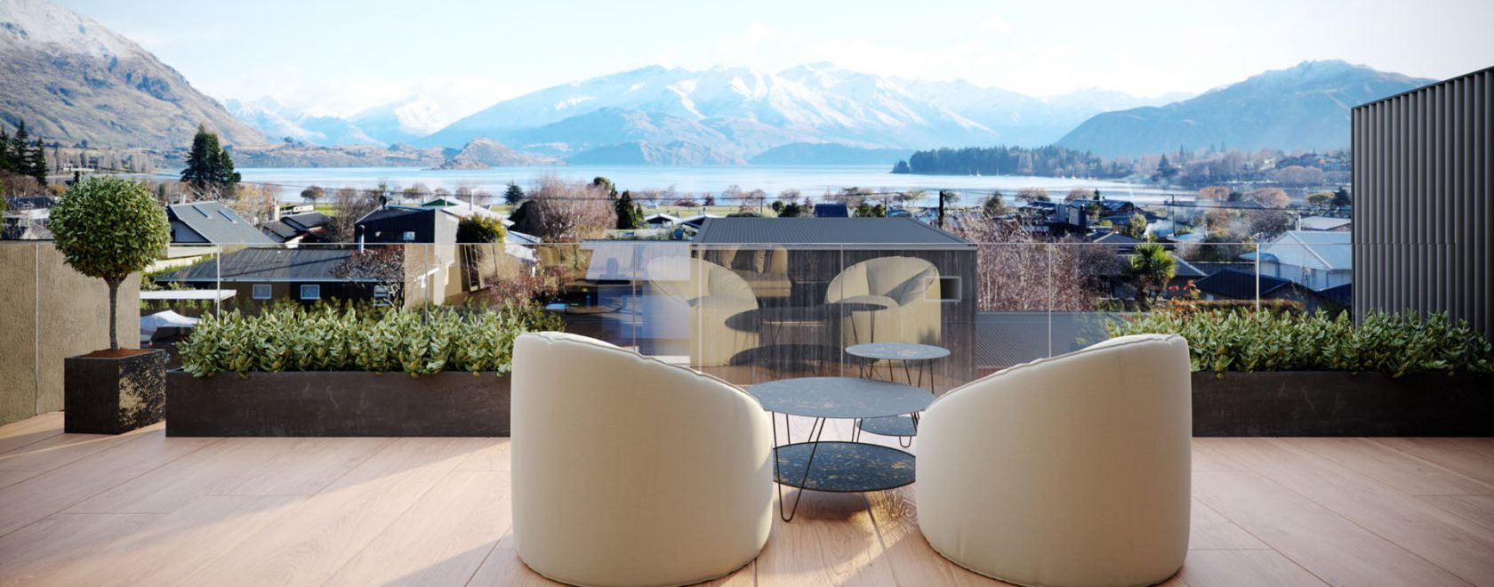 Render showing the scenic views from the top deck in Townhouses 2 & 3.