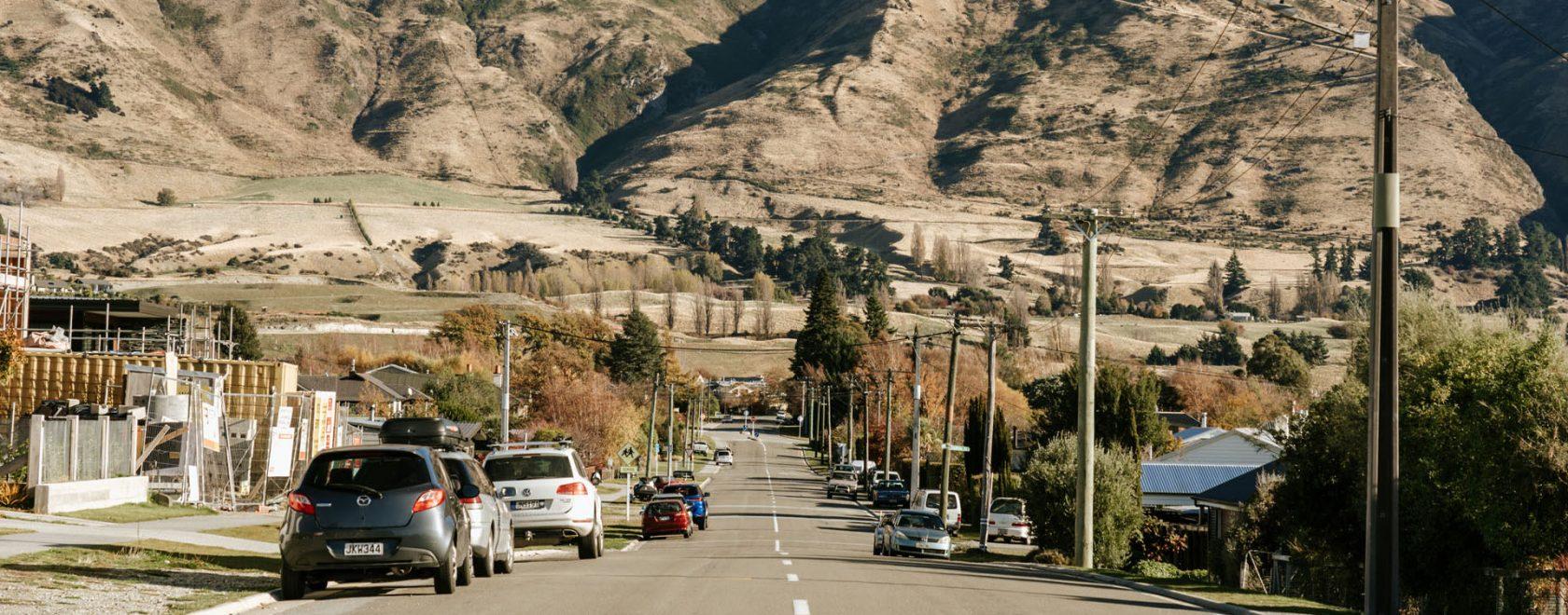 The view of Mount Roy from Warren Street, Wanaka.